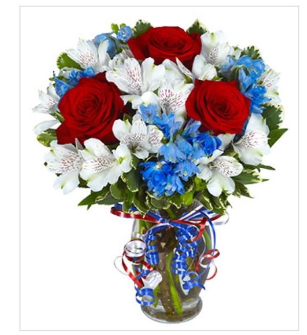 4th of July , red roses, white alstroemeria and blue flowers ...