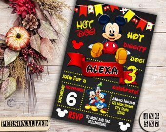 Mickey Mouse invitación invitación de cumpleaños por PartyPrintouts