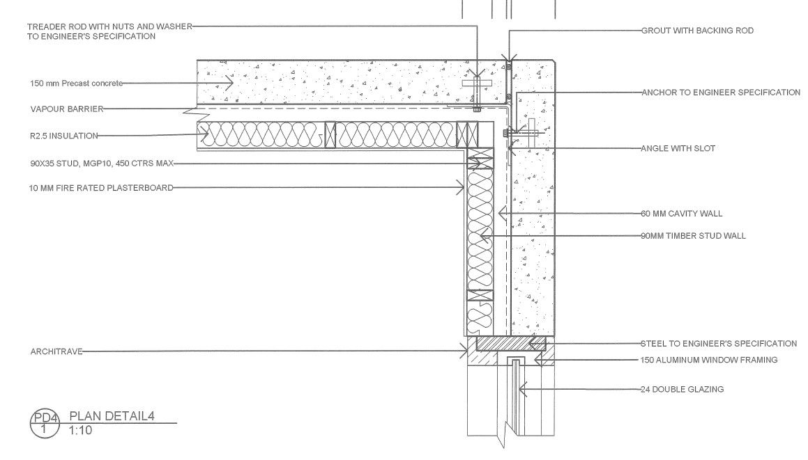 Pre Cast Concrete Wall Plan Details2 Cavity Wall Concrete Wall Stud Walls
