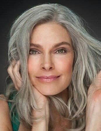 Grey With Green Eyes Brighten Gray Hair Long Gray Hair Silver Hair