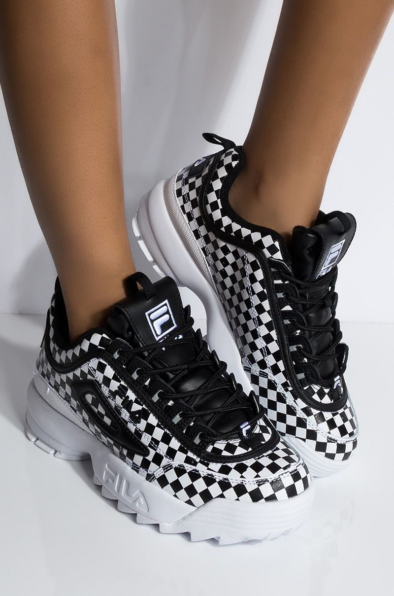 FILA Checkerboard Faux Leather Chunky