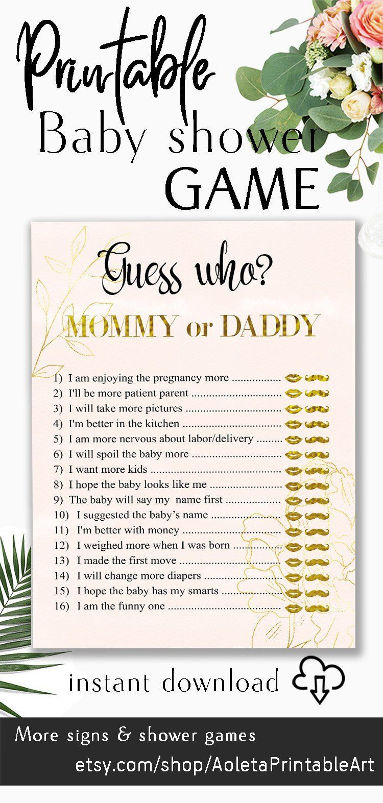 Guess Who? Mommy or Daddy Games Blush Pink Gold PRINTABLE - He Said She Said - Who knows - who said it - Coed Baby Shower Games mom or dad - #- #baby #blush #Coed #Dad #Daddy #games #gold #guess #he #it #knows #Mom #mommy #or #pink #Printable #said #she #shower #who