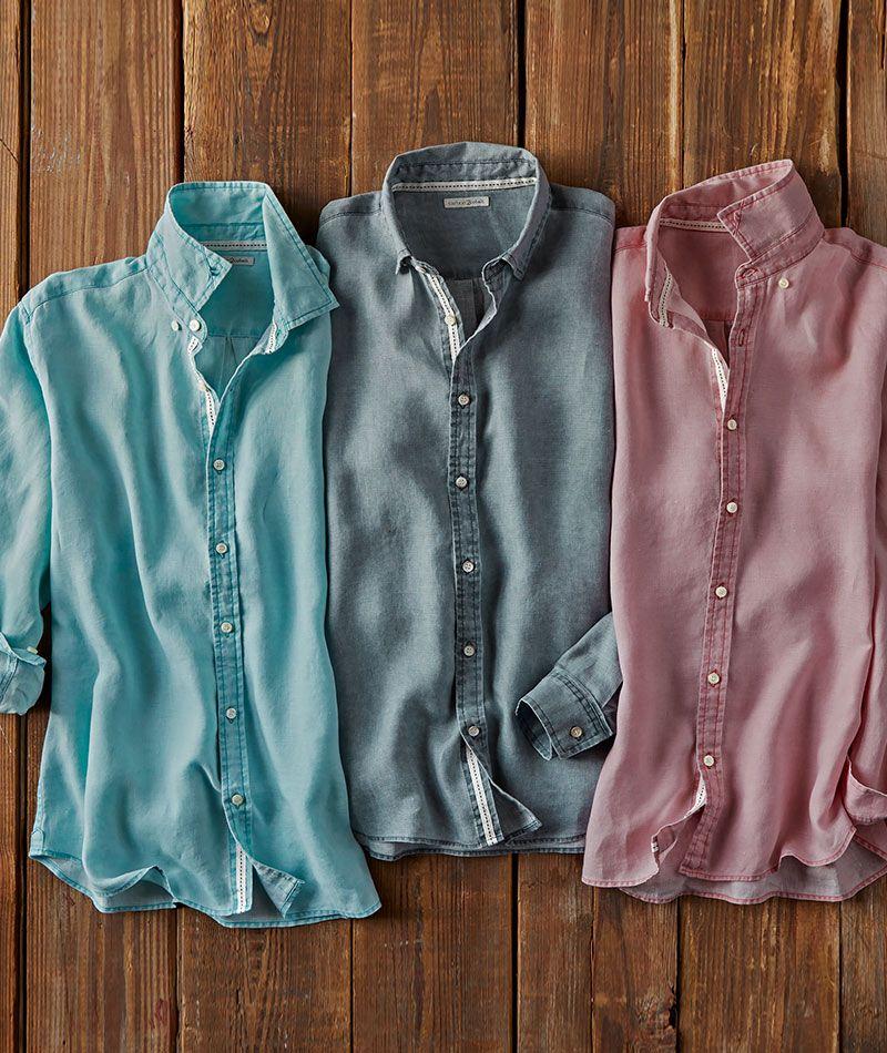 Men S Long Sleeve Refreshment Shirt In 100 Linen In 2020 Cool Shirts For Men Linen Shirt Men Striped Shirt Men
