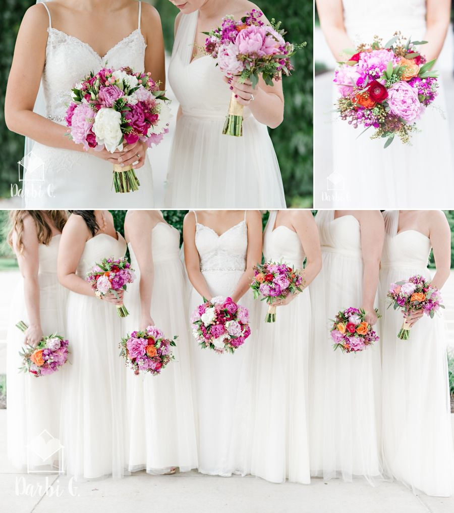 pink peonies bouquets with cream bridal dresses bridesmaids; Wedding ...