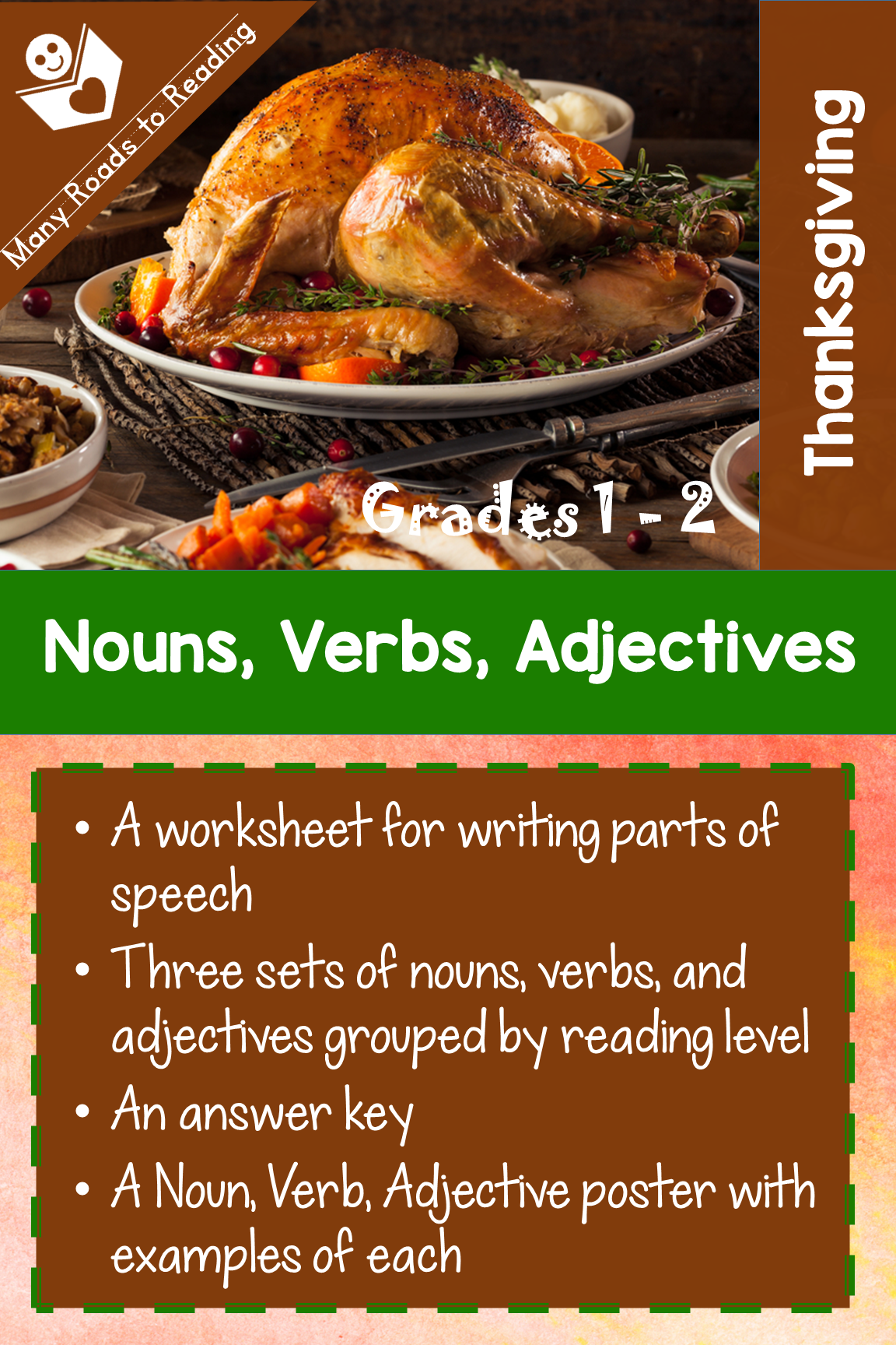 Thanksgiving Nouns Verbs Adjectives 1 2 Worksheet For