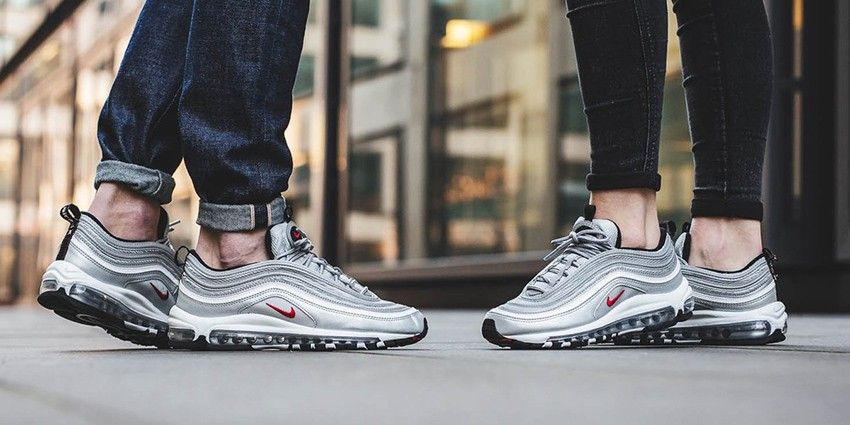 Image result for Nike Air Max 97 OG Gold on feet