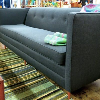 1960 70s Sofa With Tight Back And One Long Seat Cushion Newly