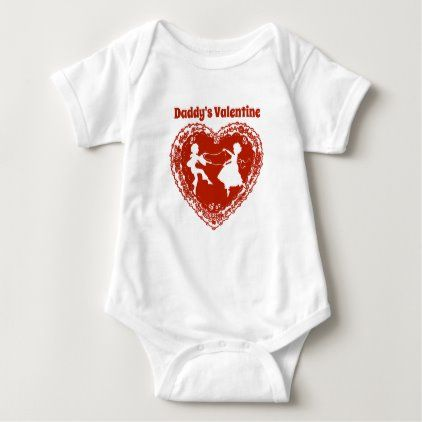 Daddy's Valentine, Vintage Red Lacy Heart Baby Bodysuit | Zazzle.com