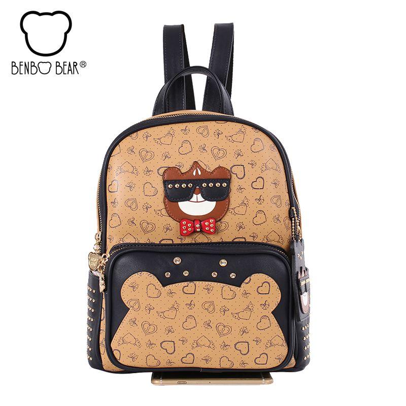 4c7c658e0691 Benbo bear Fashion College Wind Schoolbag for Girl High Quality PU Leather  School Book Shoulder Bag