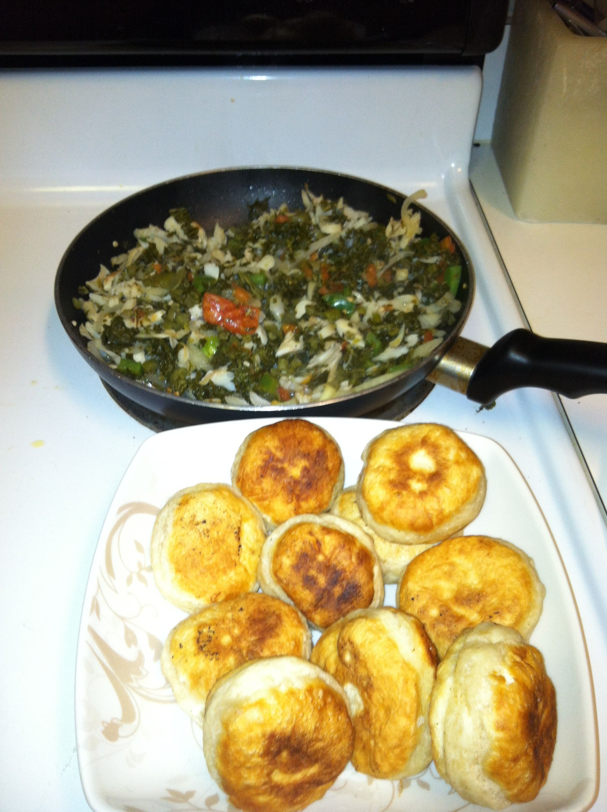 Callaloo and salt fish with fried dumplings. Yummy!!! | st vincent ...