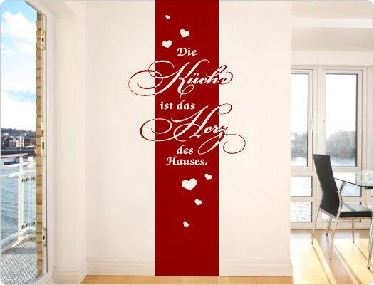 wandtattoo banner die k che ist das herz des hauses k chendeko kreative spr che und motive. Black Bedroom Furniture Sets. Home Design Ideas