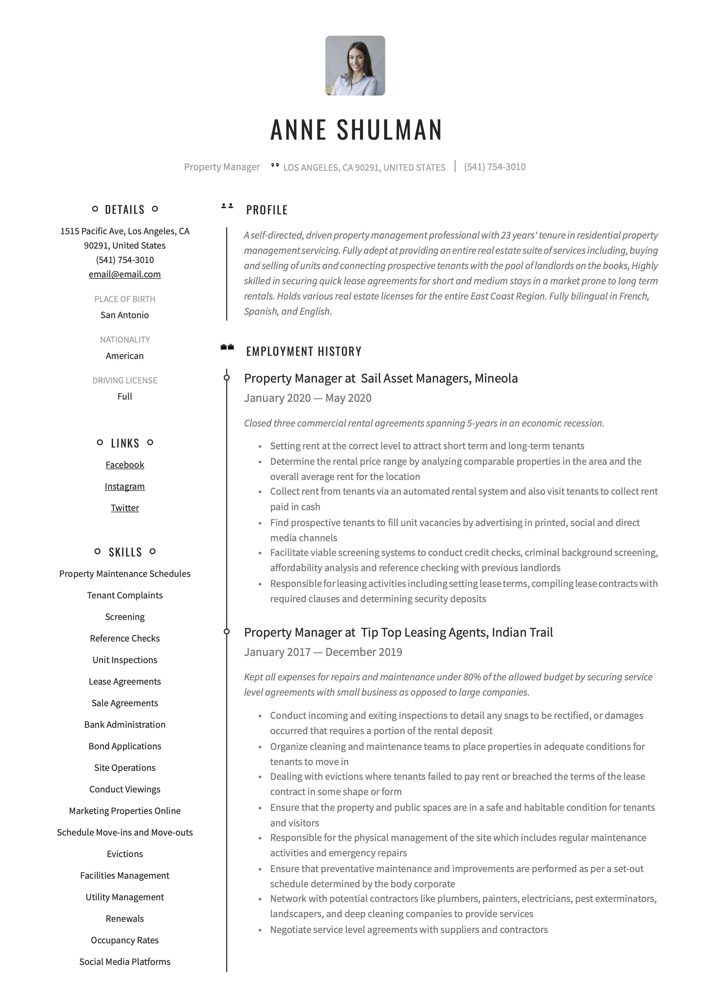 Property manager resume template retail resume examples