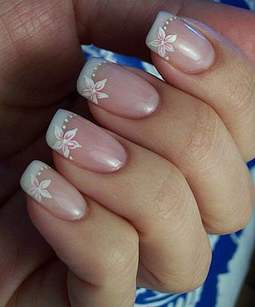 White Tips Pink Floral Nail Art Designs For Prom 2016