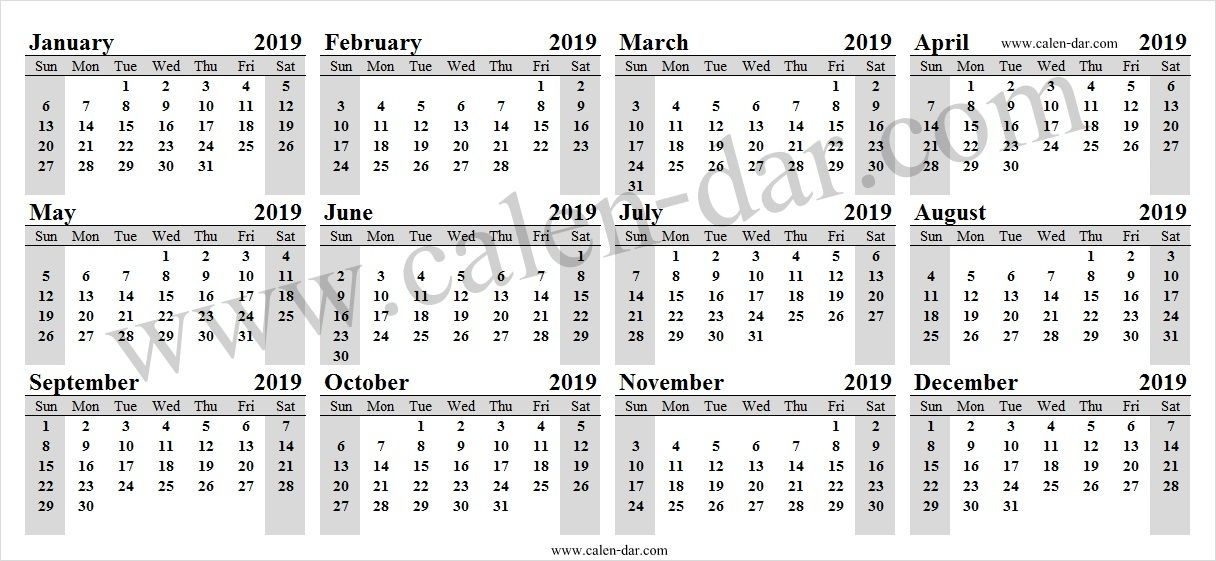2019 Year Calendar Excel 2019 Calendar Pinterest Calendar