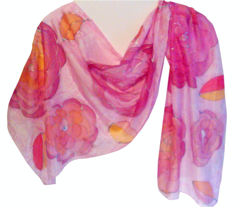 Silk Scarf Hand Painted, Zijden sjaal met de hand beschilderd, silver, red, pink, yellow, 140 x 40 cm (55 x 15, 5) inches door Silkatelier op Etsy