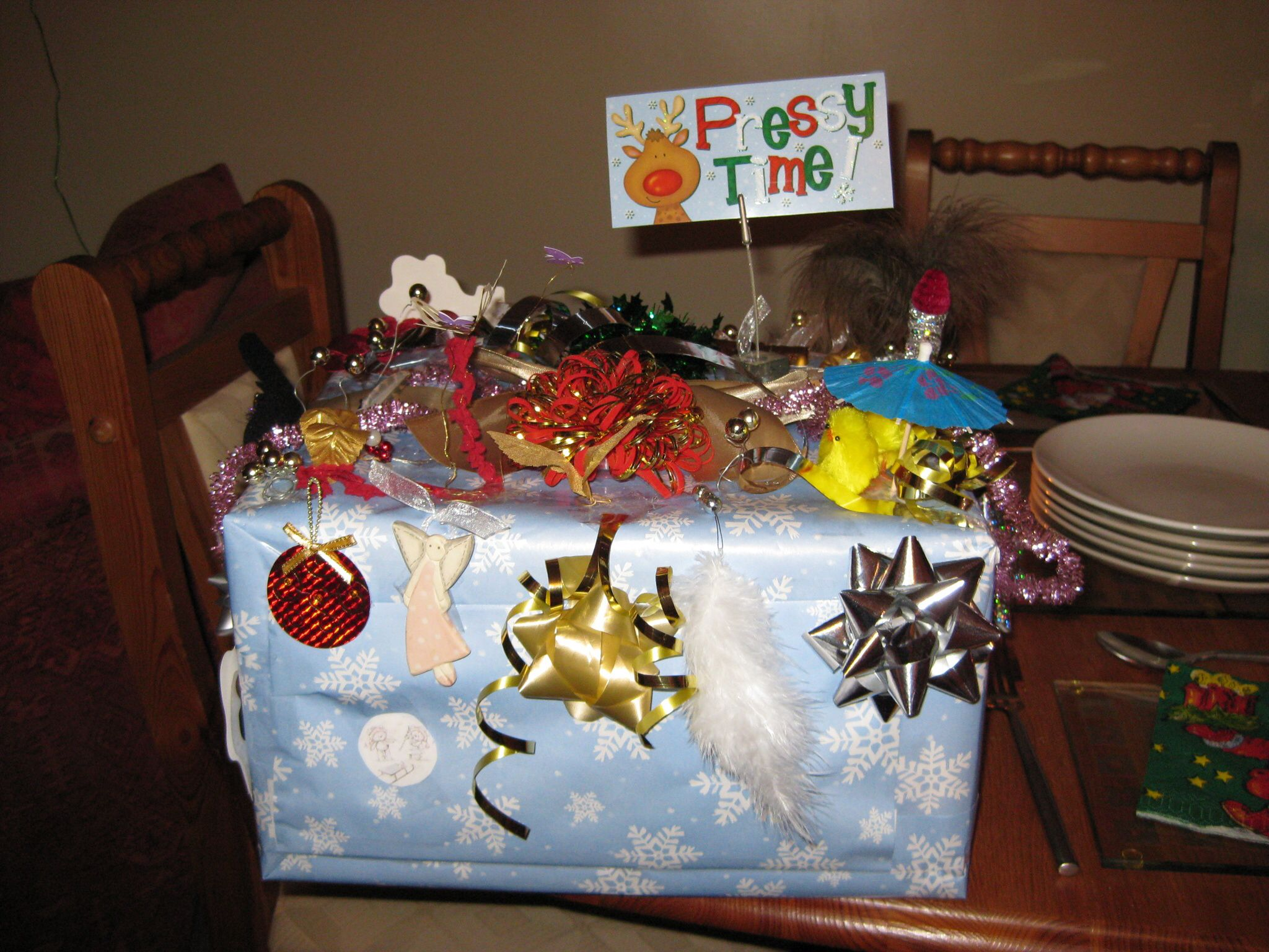 Gift box made using bits of everything front view