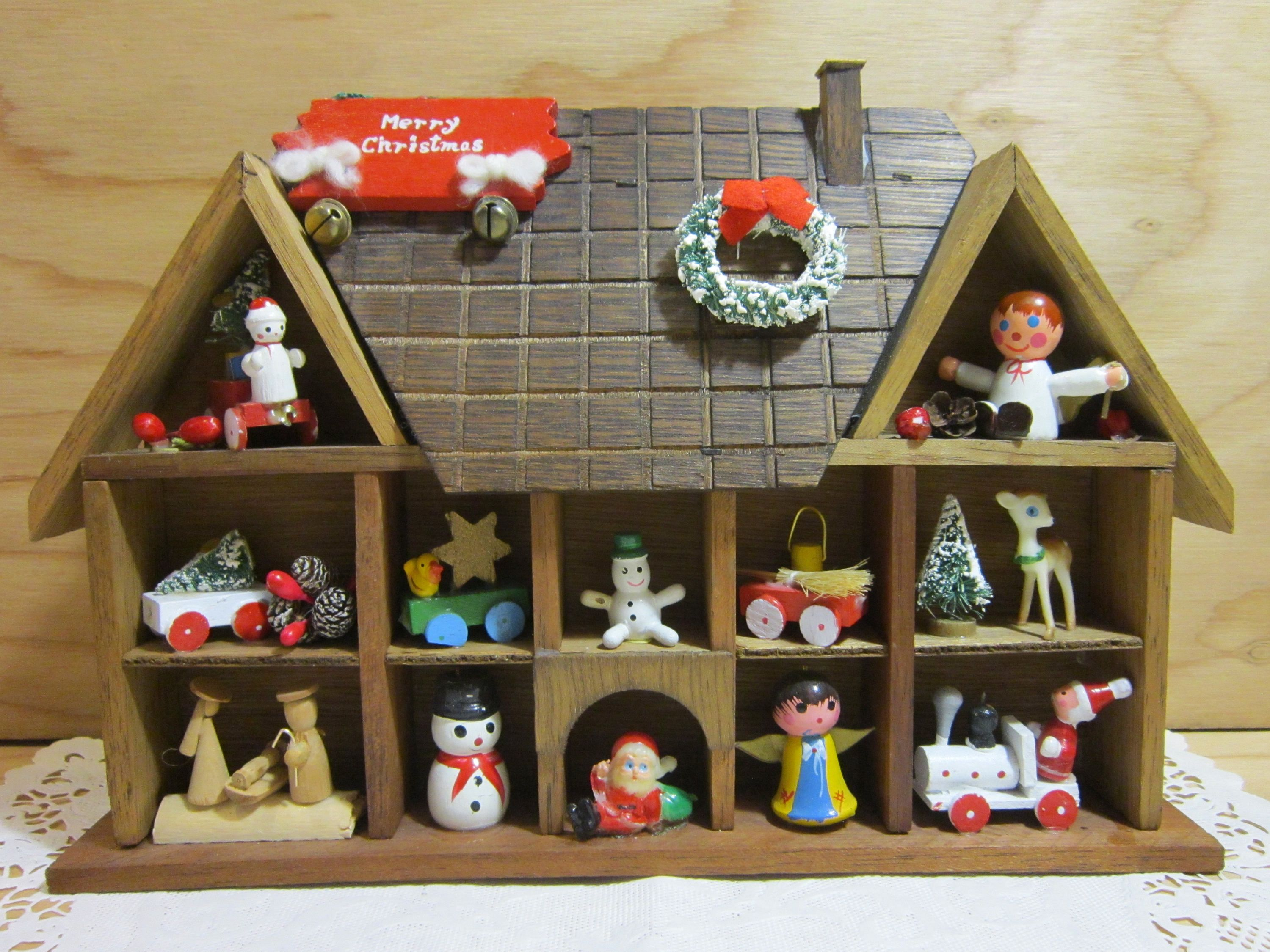 Vintage christmas house shadow box with wooden ornaments by