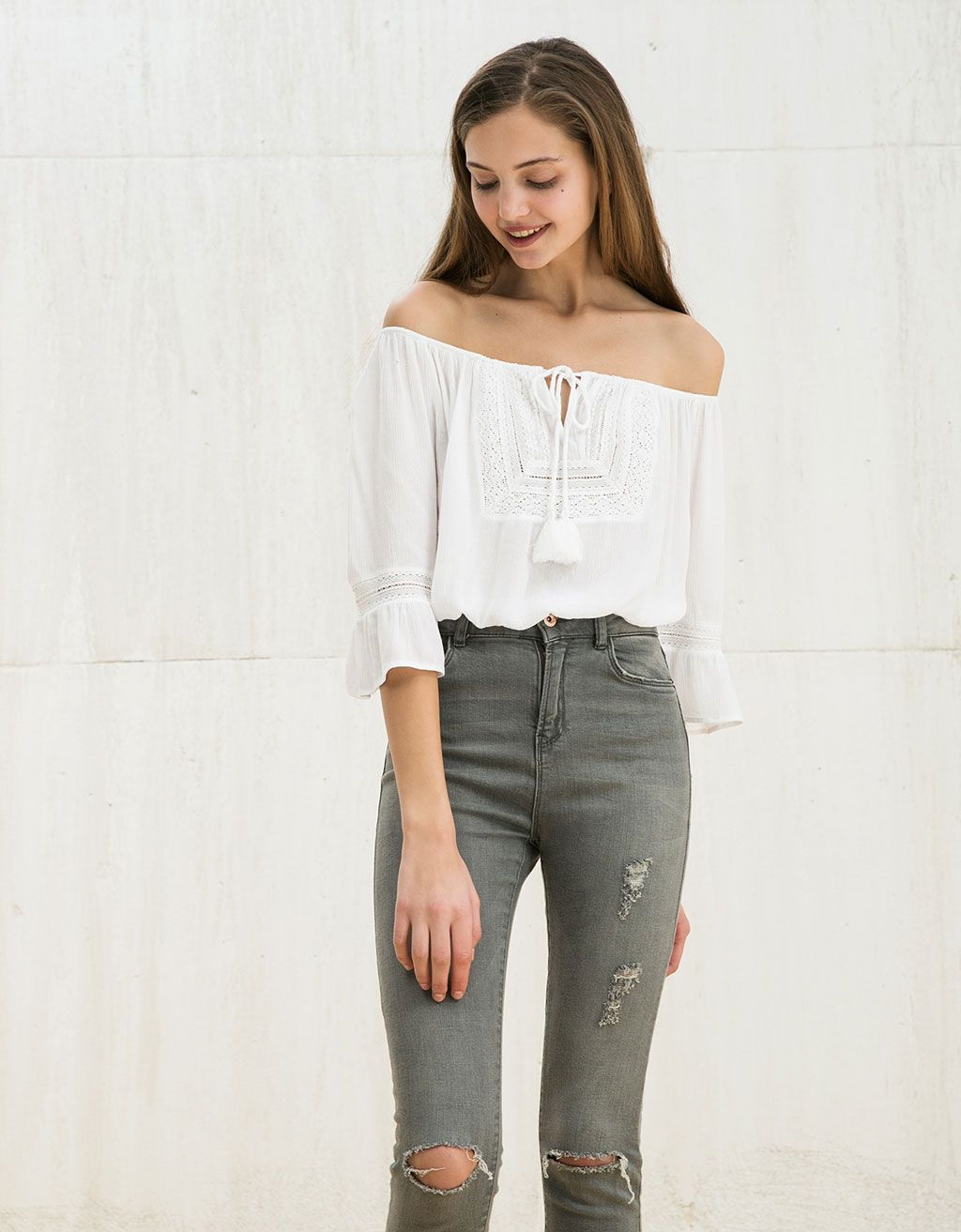 0a741847c68ae0 BSK front detail ruffle top. Discover this and many more items in Bershka  with new products every week