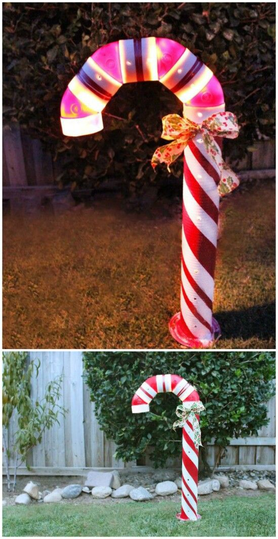DIY Lighted Candy Canes - 20 Impossibly Creative DIY Outdoor Christmas Decorations Christmas