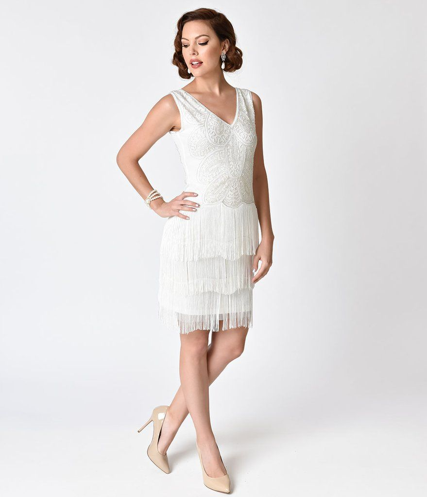 1920s Style White Beaded Tiered Fringe Emile Cocktail Dress | 1920s ...