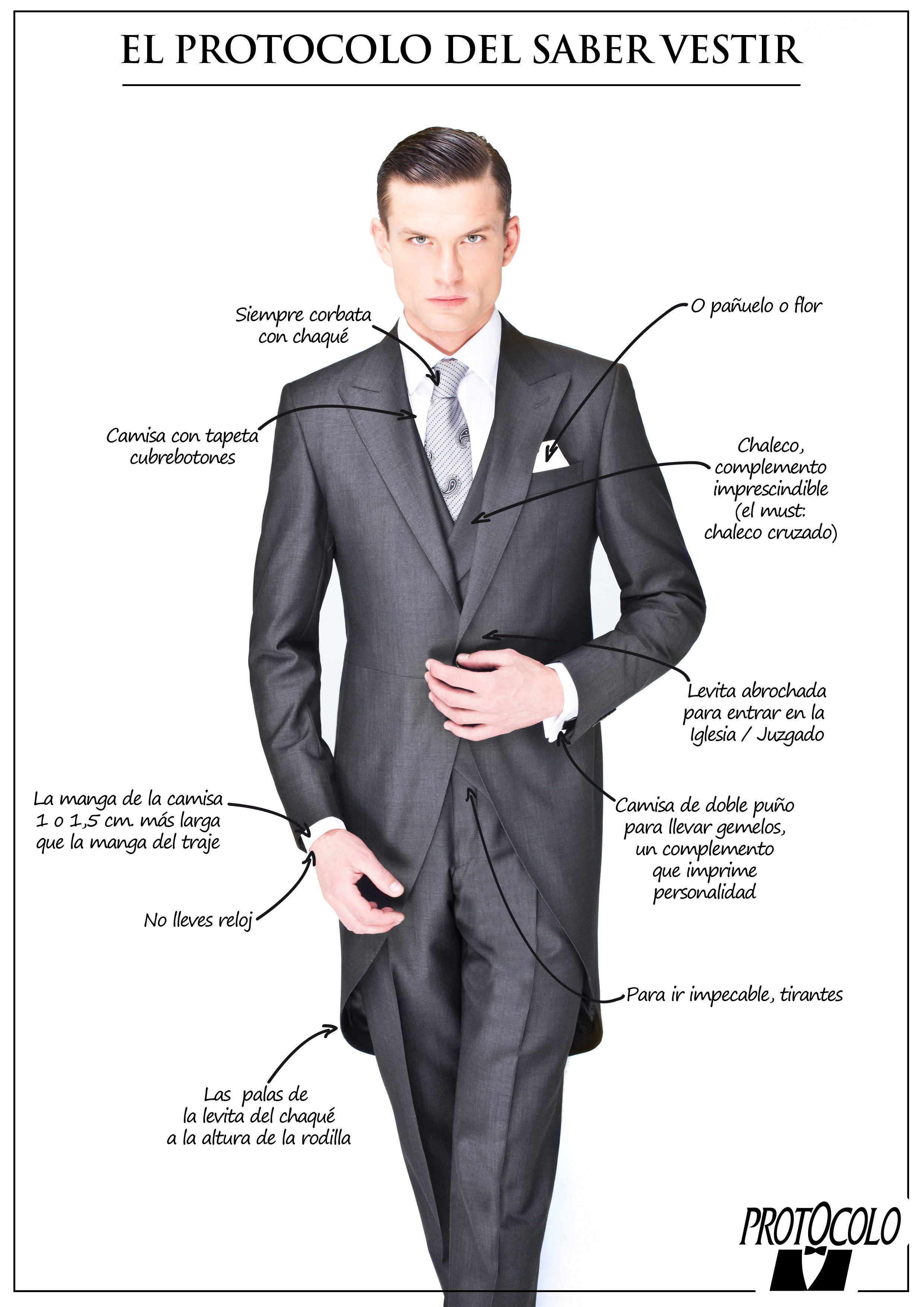 0afb2783a2d En Protocolo, somos especialistas en el asesoramiento del saber vestir en  ceremonia y fiestas de etiqueta. #boda #novio #chaqué
