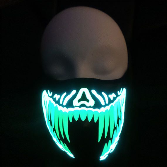 Green and Yellow Teeth LED Sound Activated Rave Mask for DJ, Edc