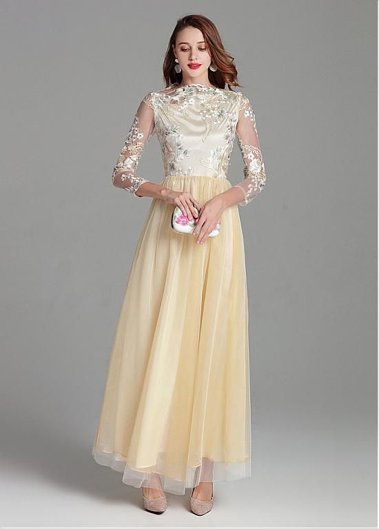 Tulle & Embroidery Lace Bateau Champagne Long Prom Dress ...