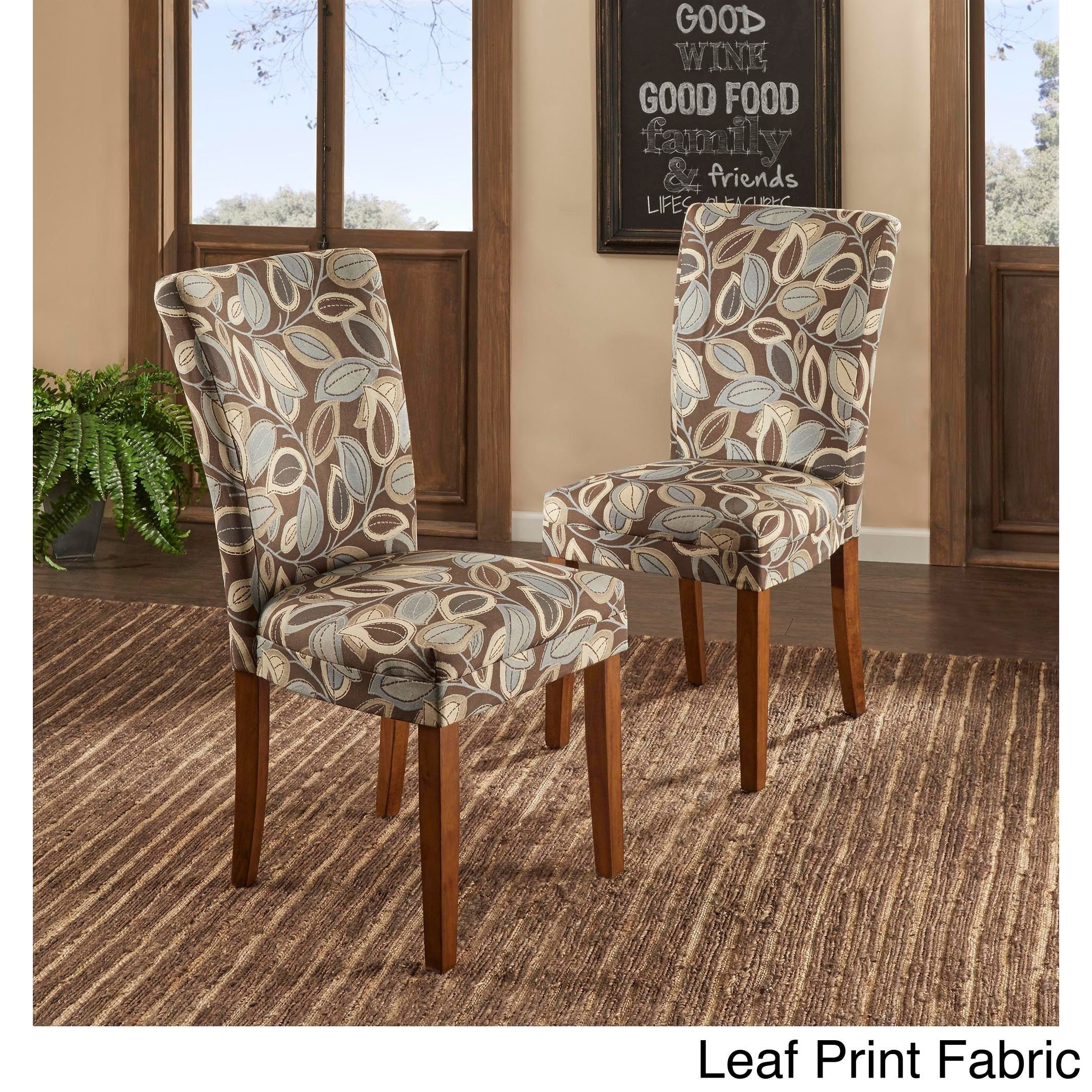 Parson Classic Upholstered Dining Chair (Set of 2) by Tribecca Home (Leaf Print Fabric), Grey (Microfiber)