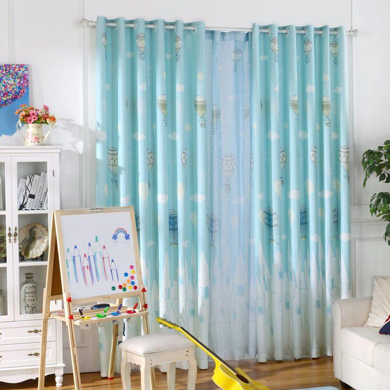 Blackout Curtains Design For Boy Bedroom Thick Window Treatments Cartoon Fabric D Ballon Children Baby