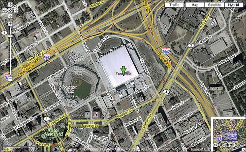Ford Field Parking Maps | Google Maps shot of Comerica Park and Ford ...