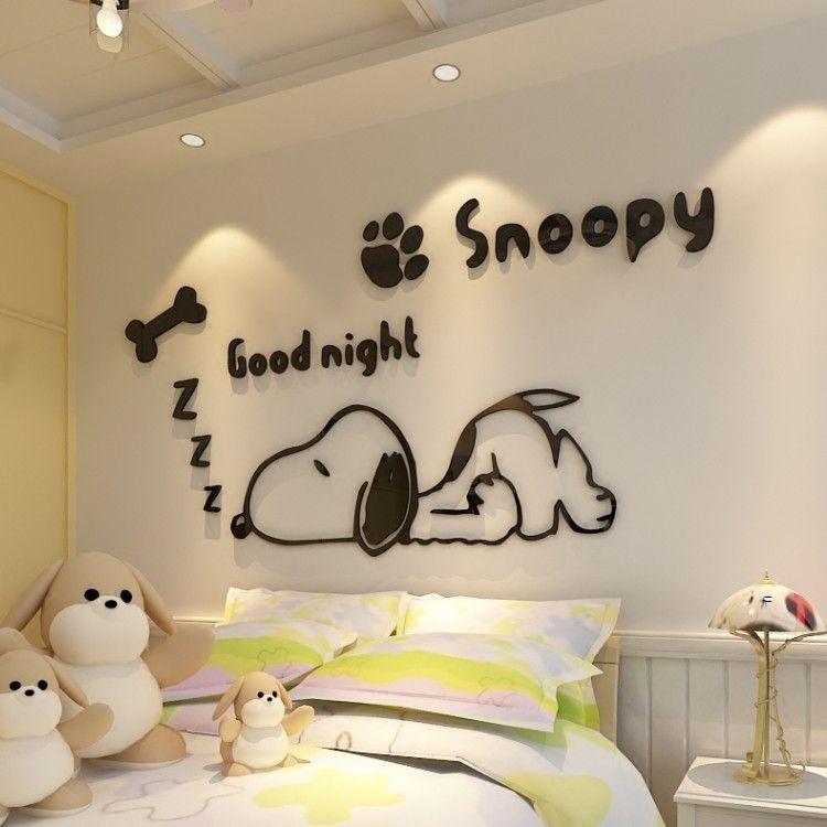 Compre Cachorros De Dibujos Animados Snoopy 3d Tridimensional Wallsticker Habitacion De Los Ninos Cuarto De Estar Dormitorio Etiqueta De La Decoracion De La Par En 2020 Pared De La Habitacion Murales