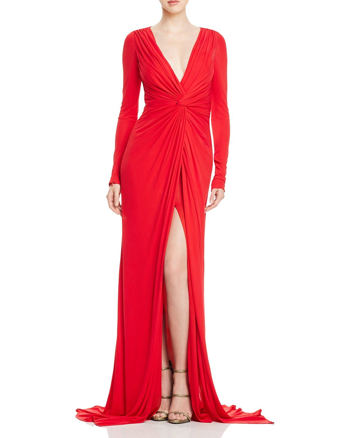 Badgley Mischka Knot Front Gown Women Bloomingdale S Red Evening Gowns Evening Dresses Red Evening Dress [ 1500 x 1200 Pixel ]