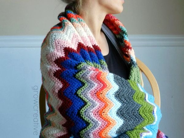 Scrappy Crochet Chevron Blanket