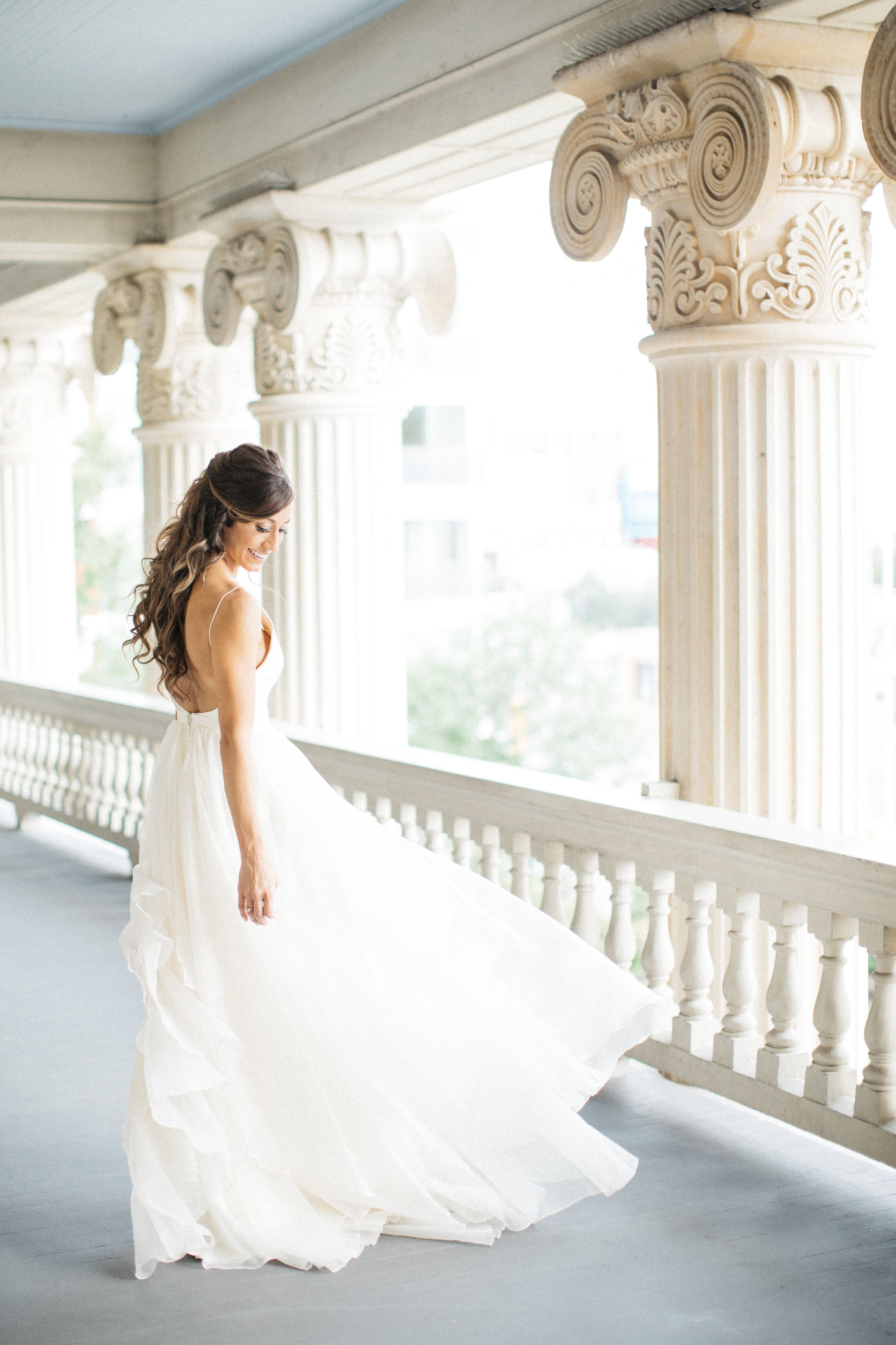 A Classic And Dreamy Wedding At Hotel Ella In Austin Texas Iconic Weddings One Shoulder Wedding Dress Wedding Dresses
