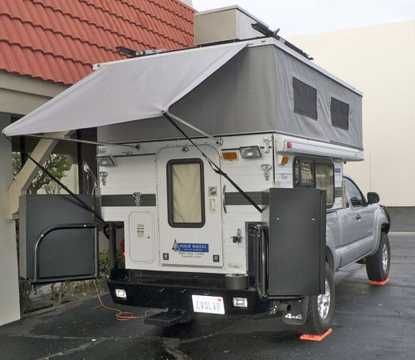 Four Wheel Truck Camper With Aluminess Rear Bumper And Swing Arms Box Storage