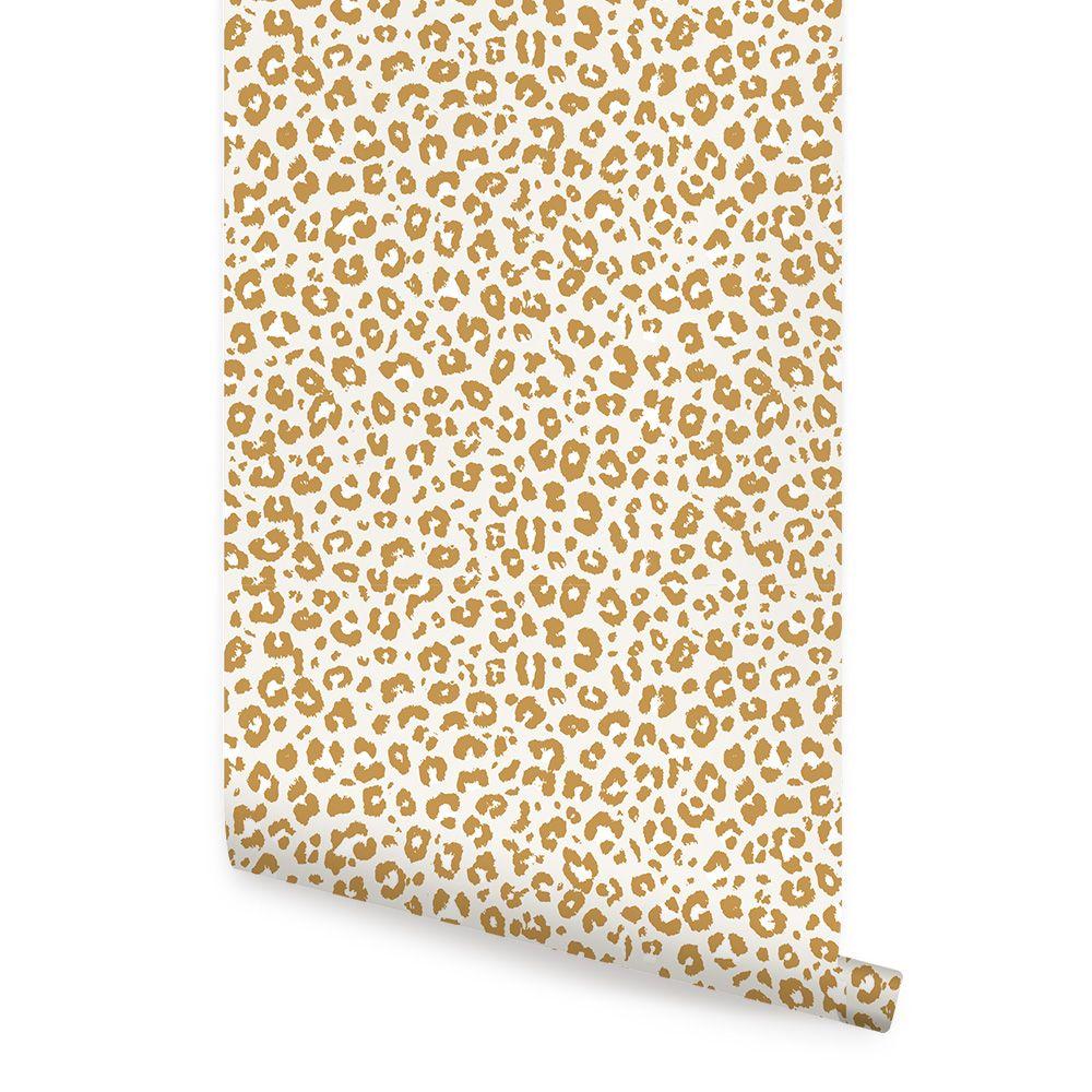 Animal Print Leopard Peel and Stick Wallpaper Light Grey