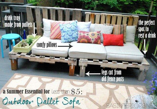 Diy Pallet Wood Outdoor Sofa For The Home Pinterest Pallet