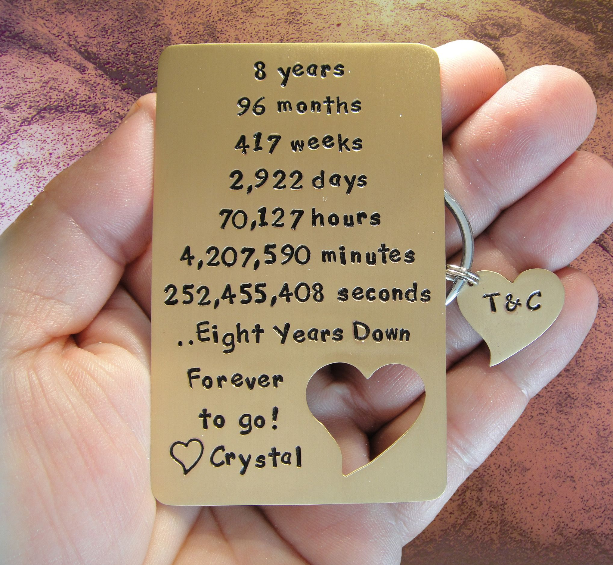 Your Personalized Message Hand Engraved In Solid Bronze The Perfect Way To Say I Love You Bronze Anniversary Gifts Cute Date Ideas Diy Anniversary