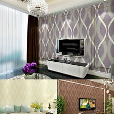 10m 3D Embossed Wave Textured Non-Woven Wallpaper Wall Decoration