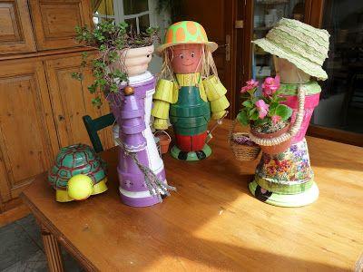 personnages en pot de fleur deco jardin pinterest pots de fleurs pots et personnage. Black Bedroom Furniture Sets. Home Design Ideas