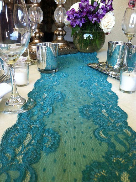 Teal Green Vintage Table Lace Runner Burlap Flower