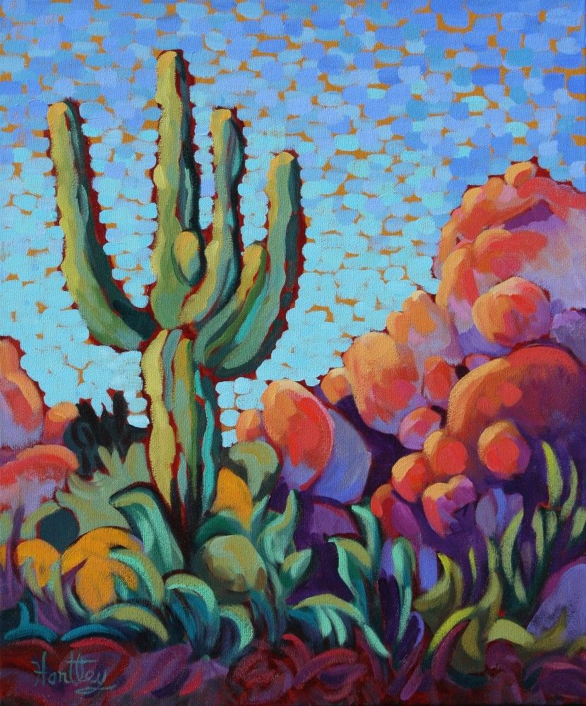 Crazy Painting Claudia Hartley Cactus At The Boulders Painting