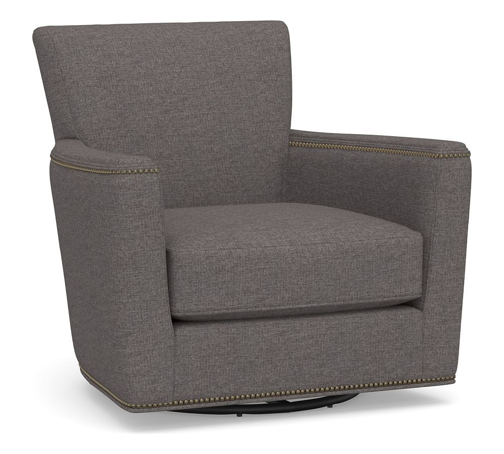 Irving Square Arm Upholstered Swivel Glider With Nailheads
