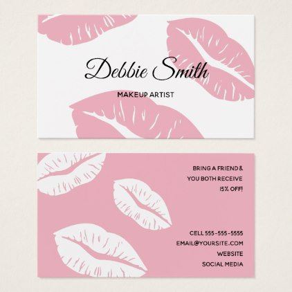 Pale pink and white lips pattern makeup artist business card pale pink and white lips pattern makeup artist business card makeup artist business cards reheart Choice Image