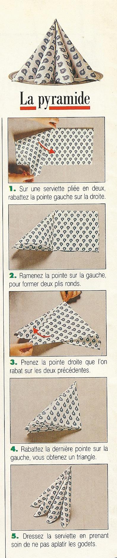 Pliage De Serviettes En Forme De Pyramide Napkin Folding Napkin