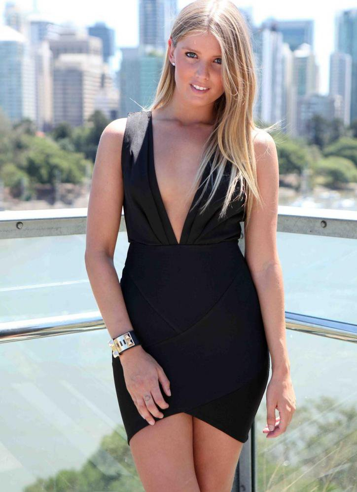 #Xenia                    #Skirt                    #Black #Plunge #V-Neck #Dress #with #Black #Bandage #Skirt                    Black Plunge V-Neck Dress with Black Bandage Skirt                            http://www.seapai.com/product.aspx?PID=1377676