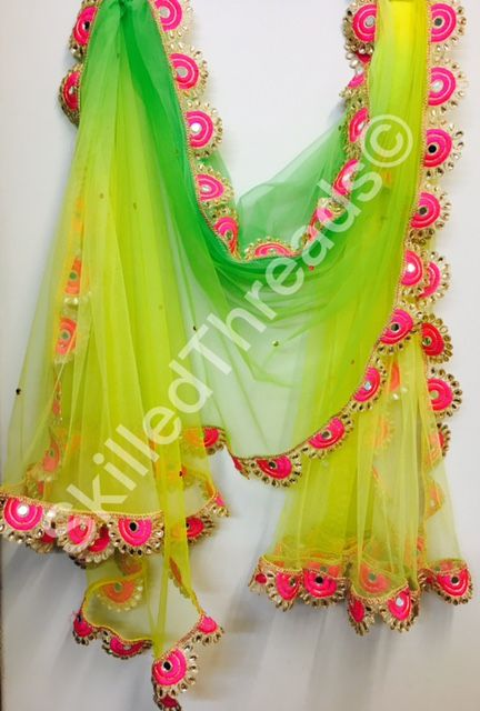 Lemon green fluorescent pastel net dupatta with allover stone work and lace border fashion diwali diwalicelebrations indianethnic india delhi also rh pinterest