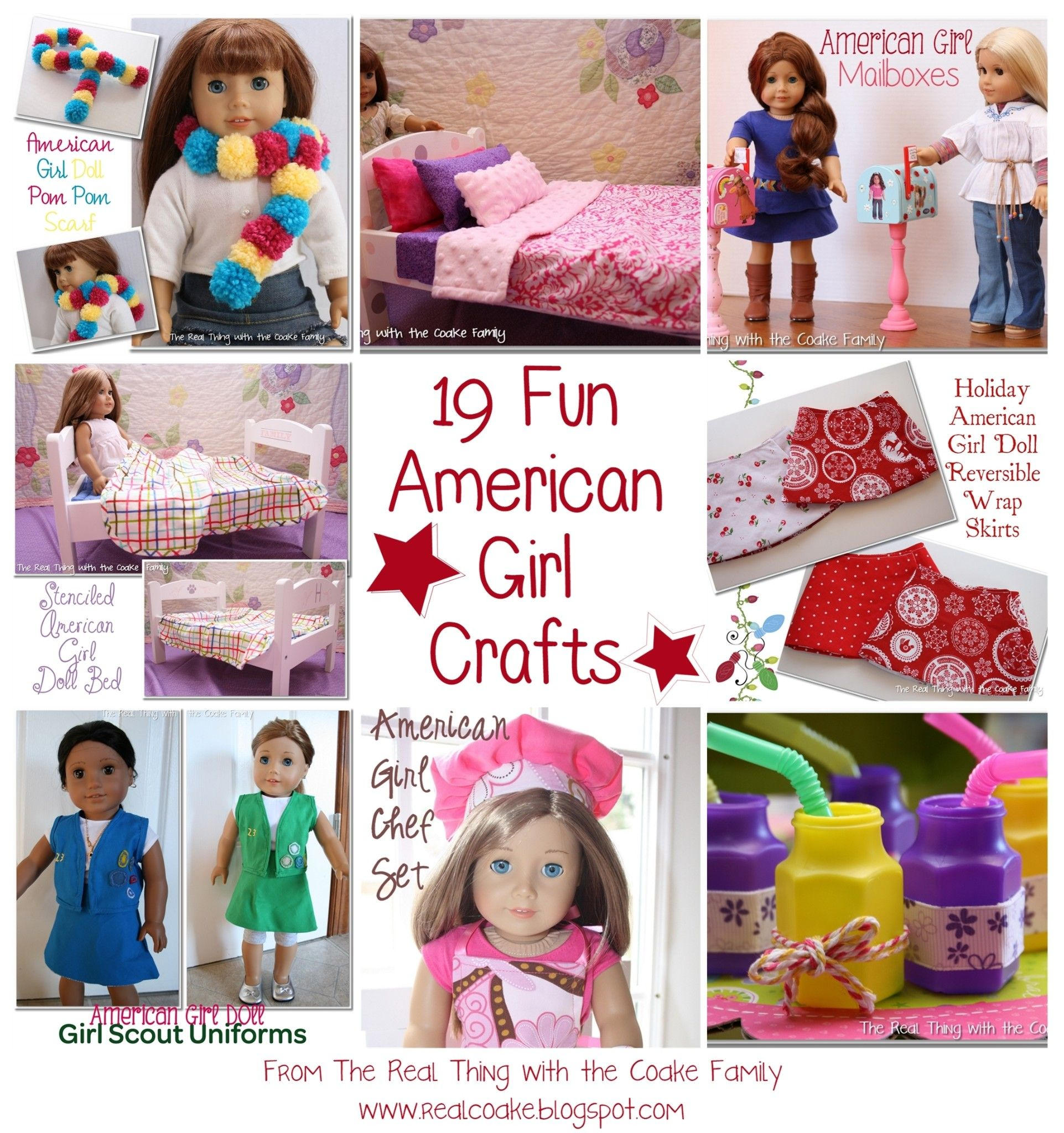 19 Fun American Girl Crafts...perfect fun for any American Girl Doll fan. Crafts, sewing and party ideas that are easy crafts and cute projects