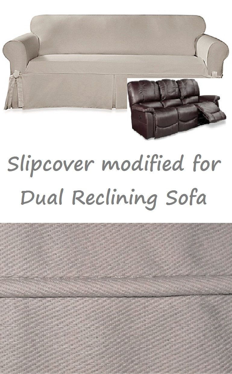 Dual Reclining Sofa Slipcover Farmhouse Twill Taupe Sure Fit Couch Reclining Sofa Slipcover Slipcovered Sofa Reclining Sofa