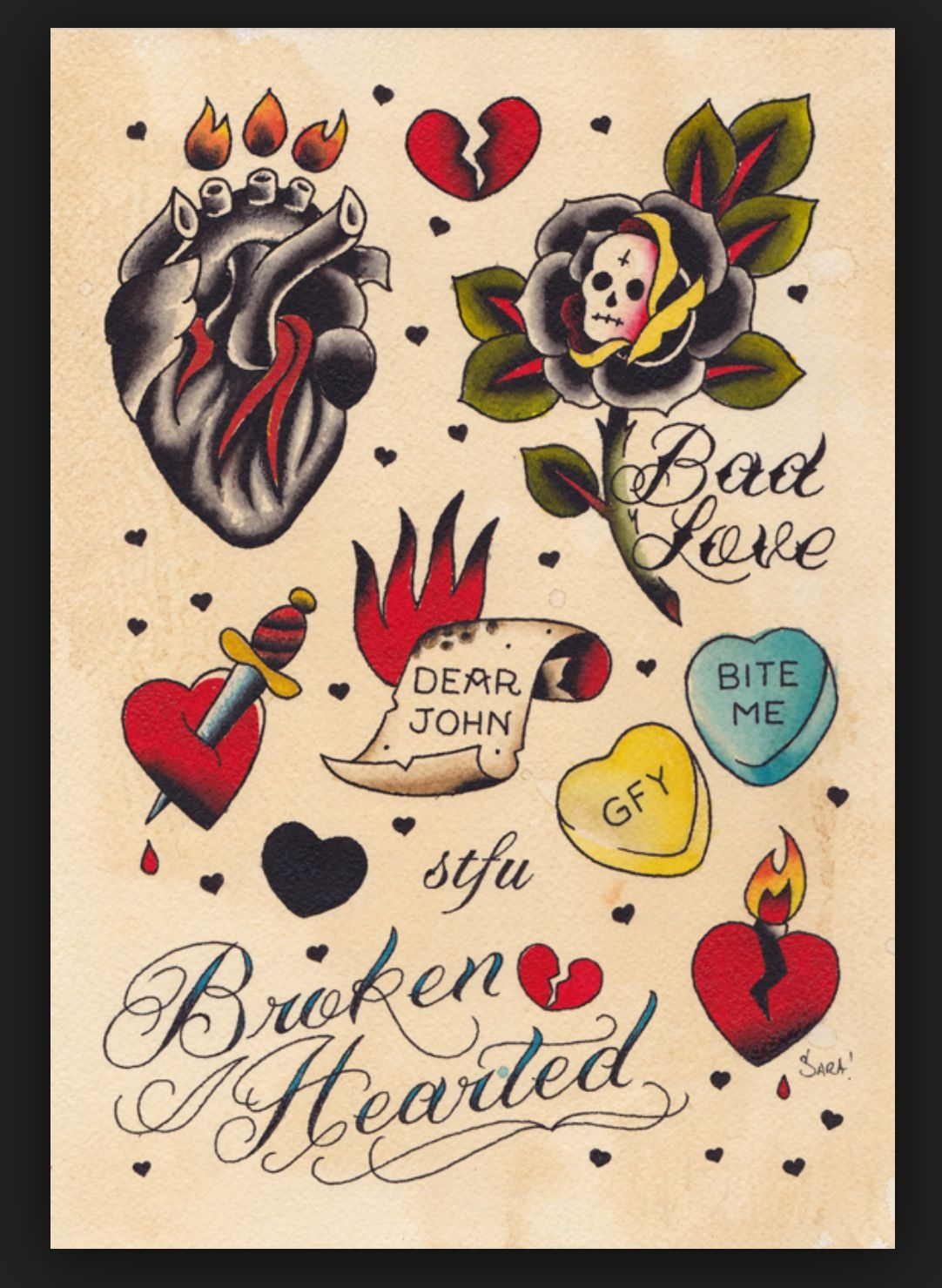 Heart Candy Traditional tattoo prints, Broken heart